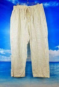 NAUTICA Sleepwear Mens PALE YELLOW Pinstripe Lounge PJ Pajama Pants size XL