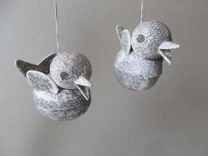 2 VTG PAPER MACHE CANDY CONTAINER BIRD XMAS ORNAMENTS GLASS GLITTERED JAPAN