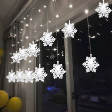 Snowflake 3M 128LED Icicle Drop Windows Gutter Hanging House Xmas Outside Lights