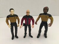 Lot of 3 Star Trek Next Generation Action Figures Jean-Luc Picard, Data, Worf G4