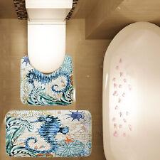 2 Piece Bathroom Mat Set Ocean Sea Horse Seashell Non Slip Bath Mat Contour Mat