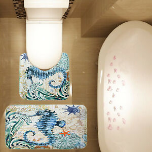 2 Piece Bathroom Mat Set Ocean Sea Horse Seashell Non Slip Bath Mat Contour Mat