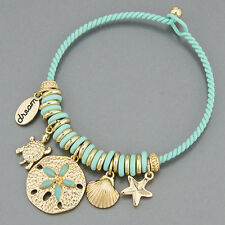 Mint Green Starfish Clam Shell Turtle Sea Life Inspired Charm Bangle Bracelet