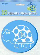 1ST Birthday Turtle Mini Cutouts 10PK M40462 Party Supplies Boys Deocration
