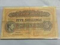 ➡➡East African 1952 Currency Board 5 shillings King George V S/N F/30 25098