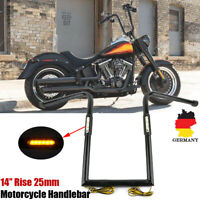 """Universal 14"""" Motorrad Ape Hanger Lenker 25mm Handlebar Mit LED Blinker Schwarz"""