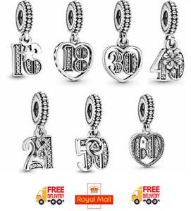 NEW Pandora Charm Love Anniversary Pendant Birthday Dangle Charm Free Pouch