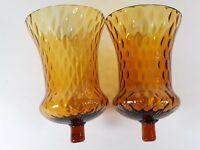 "2 Vtg Peg Votive Candle Holder Wall Sconce Amber diamond Optic Globes Glass 5"""