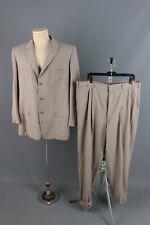 Vtg Men's 1950s Webster Wool Suit Jacket Large Pants 39x30 50s Beige
