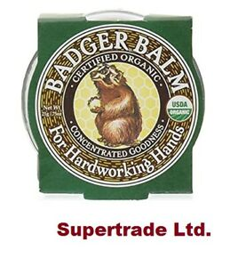 Badger Balm Organic Hard Working Hands For Dry Cracked Tired Skin Body Heels 21g
