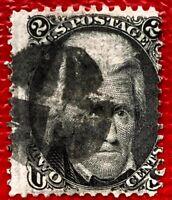 1863 US Stamp SC #73 2c Black Andrew Jackson Used CV:$55