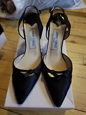 Jimmy Choo Black Satin Slingback Button Heel 36.5 $480