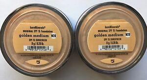 Bare Escentuals BareMinerals Foundation Golden Medium W20 8g XL SPF15 PACK OF 2