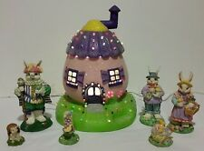 VINTAGE CERAMIC LIGHT UP EASTER EGG BUNNY HOUSE WITH 6 FIGURES