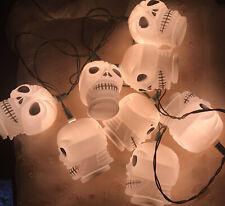 Vintage Halloween BlowMold Skeleton Head String Lights Gee Bees! 10 Lights