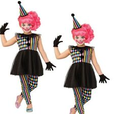 Girls Haunted Harlequin Costume Kids Clown Halloween Childs Fancy Dress Outfit