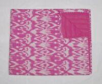 Indian Pink Kantha Quilt Bedspread Twin Size Reversible Handmade Gudari Blanket