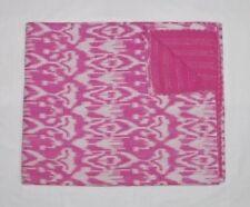 Indian pink kantha quilt bedspread twin bedding handmade gudari blanket throw