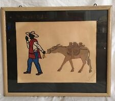Vintage Mexican Mule & Merchant Framed Fabric Paper Folk Art/Papel Picado Signed