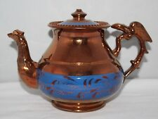 Antique Copper Lustre Ware - Teapot with Eagle Handle - c1850