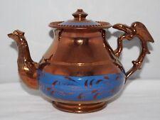 Antique Copper Lustre Ware - Teapot with Eagle Handle - c1850