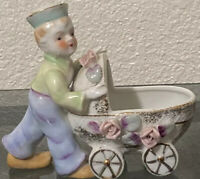 Vtg Porcelain Boy Pushing Carriage -H/P-Royal Japan-OFL-EUC Preowned