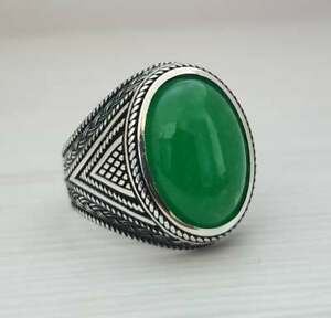1925s Egyptian Art Deco Style Green Oval Shape Jade With 925 Real Silver Ring