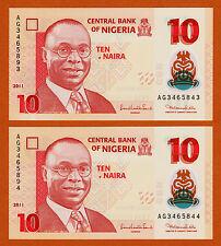 Nigeria Polymer 10 Naira ERROR 2 Consecutive Mismatched Serial UNC