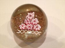 Vintage Murano Fratelli Toso Rose Millefiori Glass Paperweight Aventurine