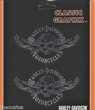 HARLEY DAVIDSON MOTORCYCLES SKULL AND WINGS SET STICKER DECAL