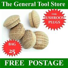 16 Mm Bag 25 Solid Oak Mushroom Head Wooden Plugs for Covering Screw Heads Etc