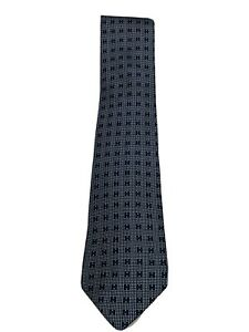 HERMES Paris Blue 100% Silk H Logo Pattern Tie
