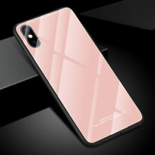 Hybrid Tempered Glass Back TPU Bumper Case Cover Shell For iPhone XS Max 8 7 6S