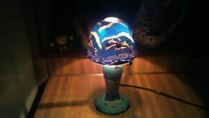 Art Deco Dolphins Glass Table Lamp,vg!