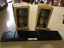 2 L.A. LAKERS BOBBLE HEADS & STAND - KARL MALONE & GARY PAYTON - CARL'S JUNIOR