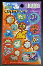Pokémon SUN & MOON Character Sticker Pikachu Vulpix Litten Rowlet Mimikyu Japan