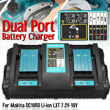 Dual Twin Port Battery Charger Fast Rapid For Makita DC18RD Li-ion LXT 7.2V-18V