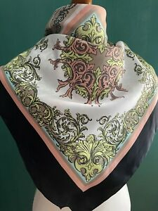 """Vintage Head Scarf Pink and Black Regal Baroque Large Size 34"""" Retro"""