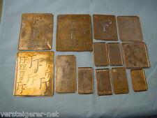13 x FF alte Merkenthaler Monogramme, Kupfer Schablonen,Stencils,Patrons broder.