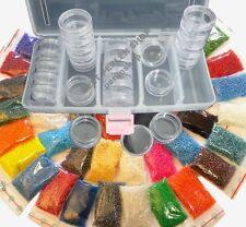 Rocailles 3mm Perlen 25 Farben (25x10g) + BOX 25 DOSEN Basteln set DIY B18 AM53