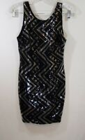 Line Up fully sequin dress Large L black silver club chevron mini sleeveless USA