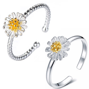 Daisy Ring Silver Flower Jewellery Boho Summer Girls Ladies Adjustable Boho UK