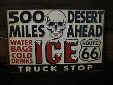 NEW METAL SKULL ICE TRUCK DECOR route 66 miles motorcycle harley bag pickup soda