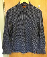Ben Sherman Mens Size M Dark Blue Navy Checked Smart Shirt