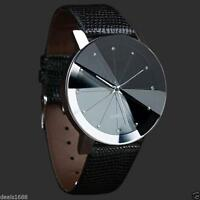 Luxury Men's Quartz Sport Military Stainless Steel Dial Leather Band Wrist Watch