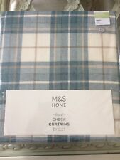 "Lined Check Eyelet Curtains 63"" W X 54"" (137cm) £85 Duck Egg Tartan"
