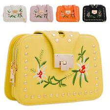 Ladies Floral Embroidered Shoulder Bag Flower Clutch Bag Clasp Handbag KL2248