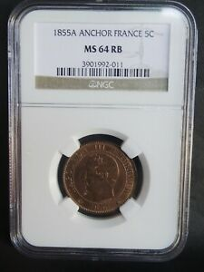 France, 5 Centimes 1855 A, Anchor MS64 RB TOP POP
