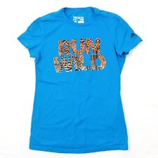 Adidas Womens T-shirt RUN WILD Animal Print Tee Baby Blue Tiger Font Athleisure