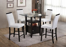 Kings Brand 5-Piece Counter Height Dining Set, Table & 4 Chairs (White)